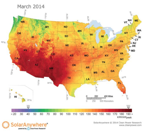 PV Generation Potential for March 2014 and Understanding Solar Resource Uncertainty