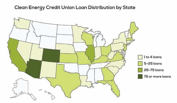 Map of the US states showing the distribution of loans by CECU.